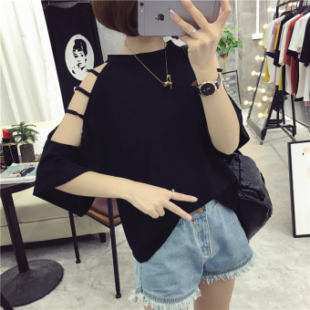Korean-style female New style student short sleeved Top LOOESN half-sleeve shirt T-shirt (202 black)
