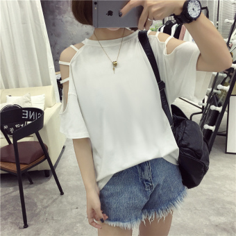 Korean-style female New style student short sleeved Top LOOESN half-sleeve shirt T-shirt (202 white)