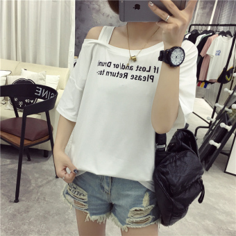 Korean-style female New style student short sleeved Top LOOESN half-sleeve shirt T-shirt (209 white)