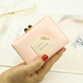 Korean-style female New style student small wallet women's wallet (Barbie Powder)
