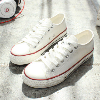 Korean-style female New style student white shoes black cloth shoes (Female Models + H7053 white purple (partial half yards))
