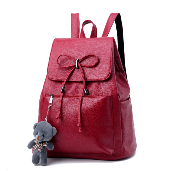 Korean-style female New style women's bag backpack (Wine red color (Bear/card holder/sachet)) (Wine red color (Bear/card holder/sachet))