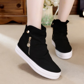 Korean-style female platform shoes hight-top plain weave shoes (Black)