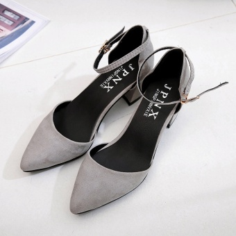 Korean-style female pointed thick with high-heeled shoes sandals (Women's + Gray color)