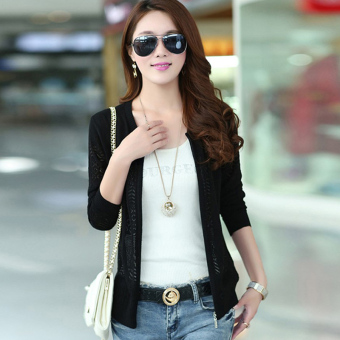 Korean-style female porous knit shirt thin cardigan (1373 black)