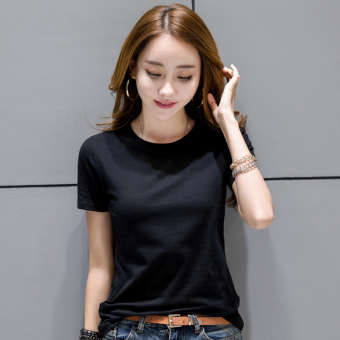 Korean-style female short-sleeved New style slim fit bottoming shirt T-shirt (Black)