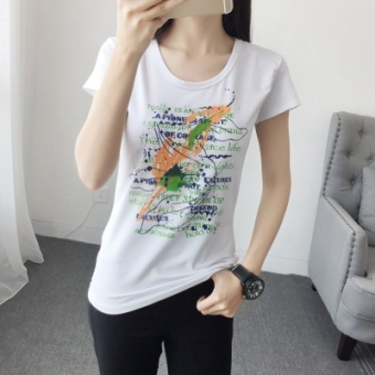 Korean-style female short-sleeved New style Top T-shirt (Green graffiti)