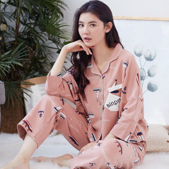 Korean-style female Spring and Autumn cotton long-sleeved casual tracksuit pajamas (A6577)