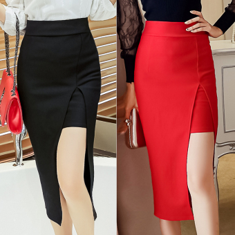 Korean-style female spring and high-waisted one-step Skirt (Red)