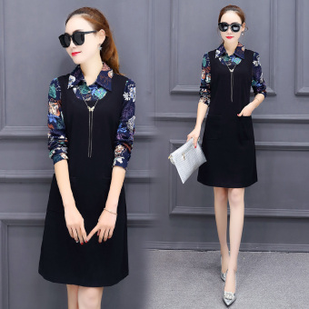 Korean-style female spring New style skirt dress (Black)