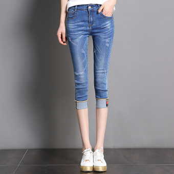 Korean-style female stretch student shorts Capri denim pants