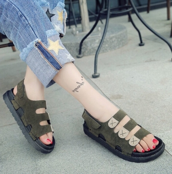 Korean-style female thick bottomed magic stickers sandals beach sandals (Dark green color)