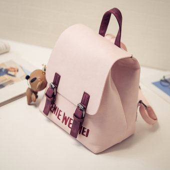 Korean-style female travel bag New style women's bag (Pink color small grizzly pendant)