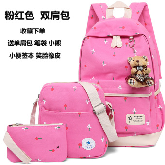 Korean-style female young student's school travel backpack canvas school bag (Pink version2)