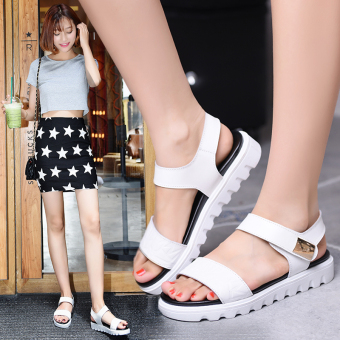 Korean-style flat heel student muffin casual women's sandals leather women's sandals (White)