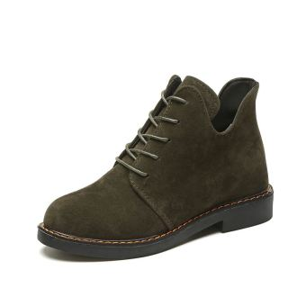 Korean-style flat versatile shoes thick bottomed Martin boots female short boots (Green)