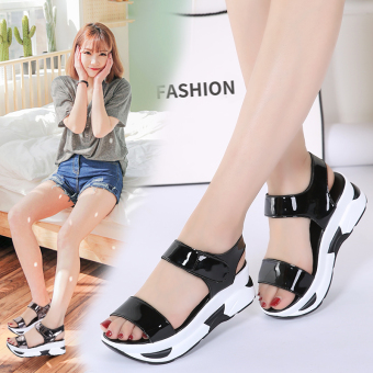 Korean-style flat waterproof platform thick bottomed women's shoes sandals (Black)