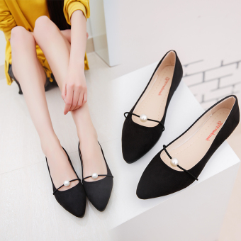 Korean-style flat with peas shoes (Black)