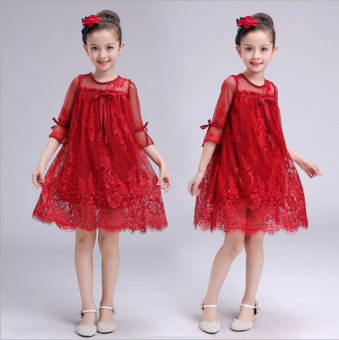 Korean-style girl's children's skirt girls dress (Red)