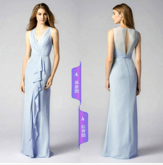 Korean style graduation banquet evening dress bridesmaid dress (Light blue a paragraph)