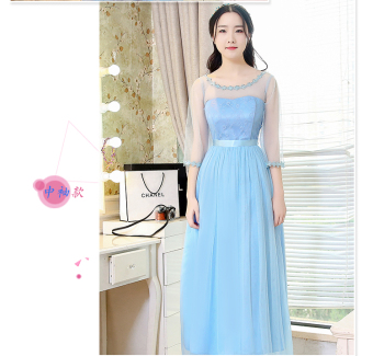 Korean-style gray New style half-sleeve shirt sisters dress bridesmaid dress (A models half-sleeve shirt sky blue color) (A models half-sleeve shirt sky blue color)