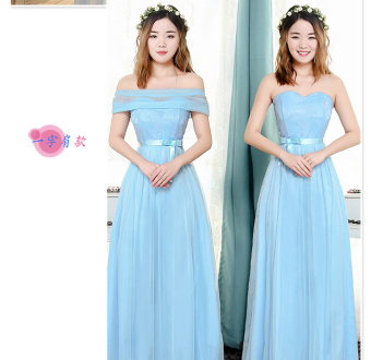 Korean-style gray New style half-sleeve shirt sisters dress bridesmaid dress (E models A-line shoulder models sky blue color) (E models A-line shoulder models sky blue color)