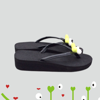 Korean-style handmade flip-flop outerwear beach flip-flops semi-high heeled sandals and slippers shoes (Black) (Black)