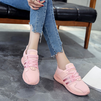 Korean-style Harajuku Women's Breathable Mesh Running Shoes (Pink)