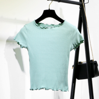 Korean-style knit solid color frilled T-shirt (Light Green)