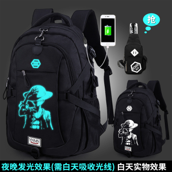 Korean-style Large Capacity High School Students men backpack (Charging version one piece Black with chest pack)