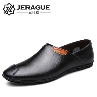 Korean-style leather business shoes leather shoes (Black)
