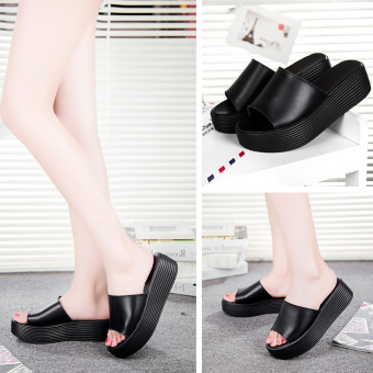 Korean-style leather Female Summer slippers thick bottomed sandals and slippers shoes (Black)