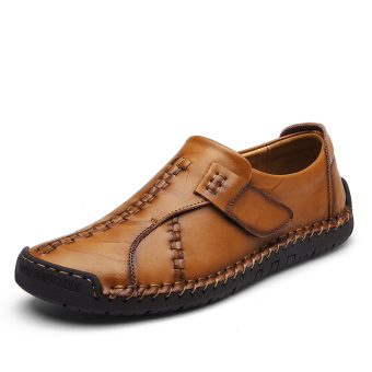 Korean-style leather men loafers New style casual leather shoes (Yellow Brown)