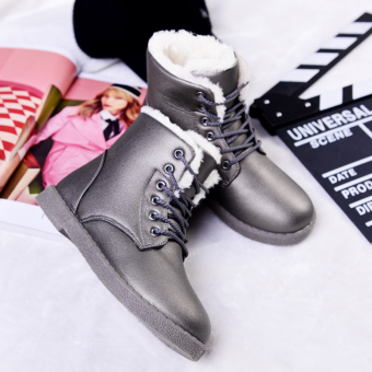 Korean-style leather New style student cotton-padded snowfield boots (Brushed Slate)