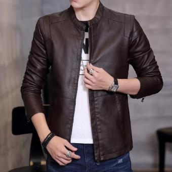 Korean-style Leather Slim fit type jacket men's leather (Coffee color)