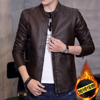 Korean-style Leather Slim fit type jacket men's leather (Coffee color Plus Velvet)