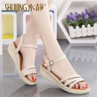 Korean-style leather student semi-high heeled women's sandals (Beige)