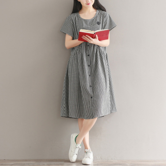 Korean-style Linen long section loose a word skirt plaid short-sleeved dress
