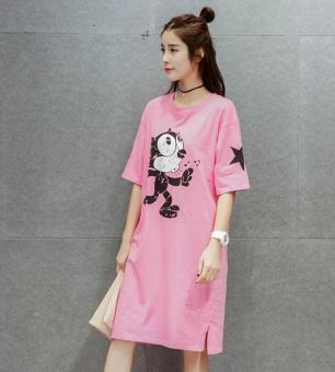 Korean-style long section cotton short-sleeved t-shirt dress summer Top (Pink color)