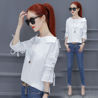 Korean-style long-sleeved autumn New style T-shirt (White Top)