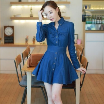 Korean-style long-sleeved lace bow cowboy dress autumn New style coat