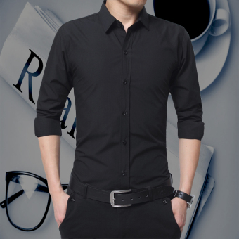Korean-style long-sleeved New style Slim fit-shirt men's shirt (Black)