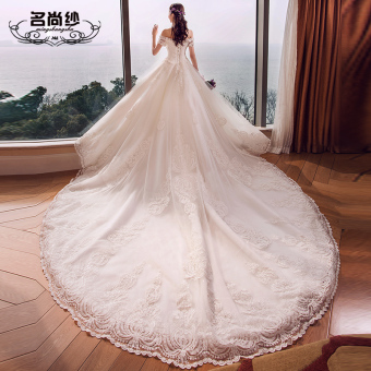 Korean style long tail bride luxury wedding veil (White tail to send 2.5 m lace veil)