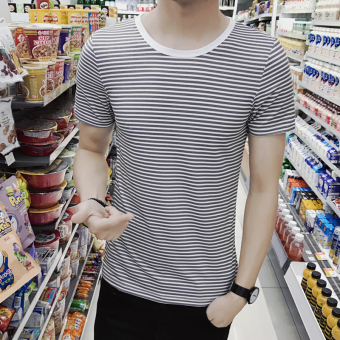 Korean-style male striped round neck navy-striped shirt T-shirt (DT14-gray strip)