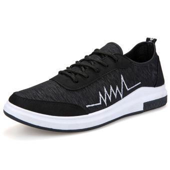 Korean-style male student New style flat canvas shoes Shoes (Black)