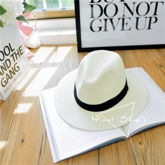 Korean-style men and women summer foldable cap Panama straw hat (Milky white color)