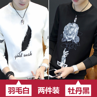 Korean-style men long-sleeved Slim fit bottoming shirt T-shirt (Feather white + peony black) (Feather white + peony black)
