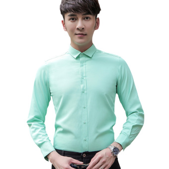 Korean-style men long-sleeved Slim fit shirt white shirt (Long sleeves mint green (1716 long))