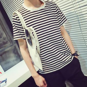 Korean-style men navy-striped shirt summer short sleeved t-shirt (Black and white striped)