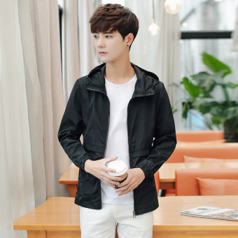Korean-style men New style hooded jacket fall sports jacket (Single black) (Single black)